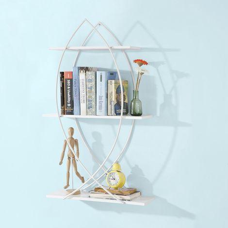 SoBuy Wandregal in Fischdesign Bücherbord mit 3 Ablagen und Metall,Hängeregal ,FRG192-W