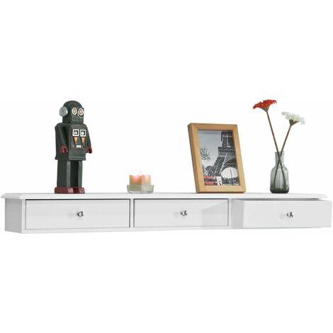 SoBuy Wandschrank mit 3 Schubladen,Hängeschrank,weiß,FRG43-L-W