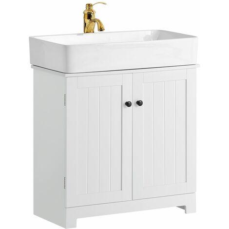 SoBuy Waschbeckenunterschrank Badschrank Waschtisch Unterschrank weiß BZR18-W