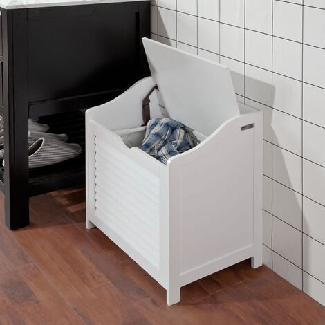SoBuy White Bathroom Storage Cabinet Chest Seat, Laundry Bin Basket,FSR40-W