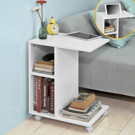 SoBuy White Coffee Sofa Side End Table on Wheels with Storage Shelves,FBT48-W