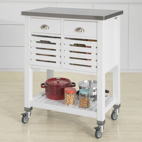 SoBuy White Kitchen Trolley Kitchen Serving Trolley Storage Trolley with Stainless Steel Worktop,FKW83-W