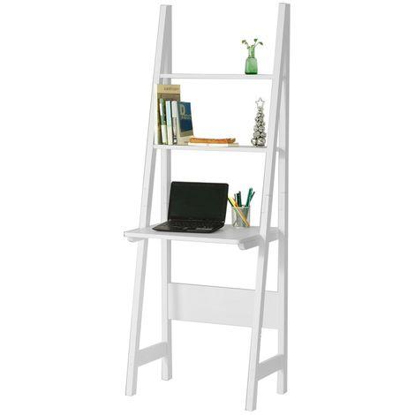 SoBuy White Modern Ladder Storage Display Shelf,Desk and 2 Shelves, FRG60-W