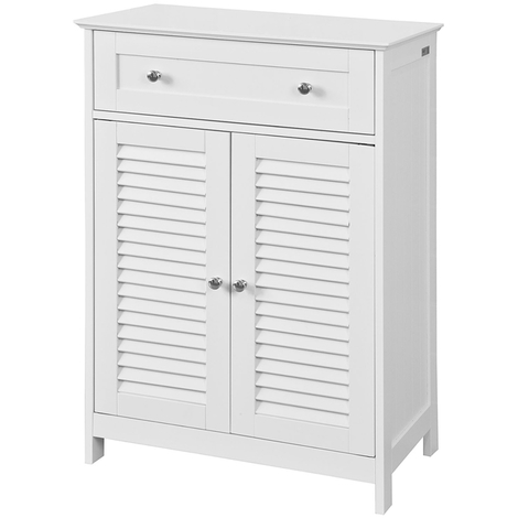 SoBuy White Storage Cabinet Cupboard with Drawer and Shutter Doors,FRG238-W,UK