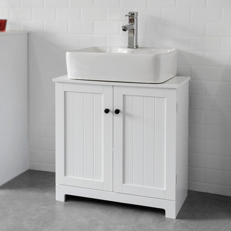 SoBuy White Under Sink Bathroom Storage Cabinet with Doors,BZR18-W