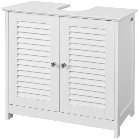 SoBuy White Under Sink Bathroom Storage Cabinet with Shutter Doors,FRG237-W