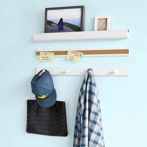 SoBuy White Wall Storage Shelves with Memo Board and Coat Rack,Set of 3,FRG139-W