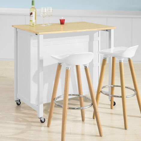SoBuy White Wood Kitchen Trolley Storage Cupboard Bar Table FKW74-WN