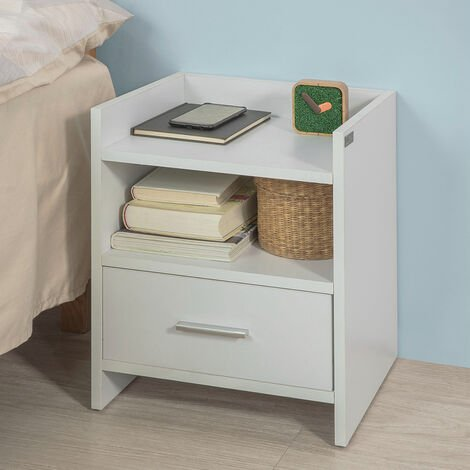 SoBuy White Wood Side Table with Drawer, FBT66-W