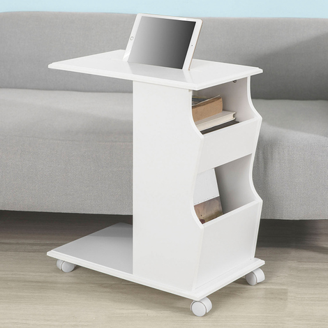 SoBuy White Wood Sofa Side Table With iPad Phone Holding Groove on Top,White FBT67-W,