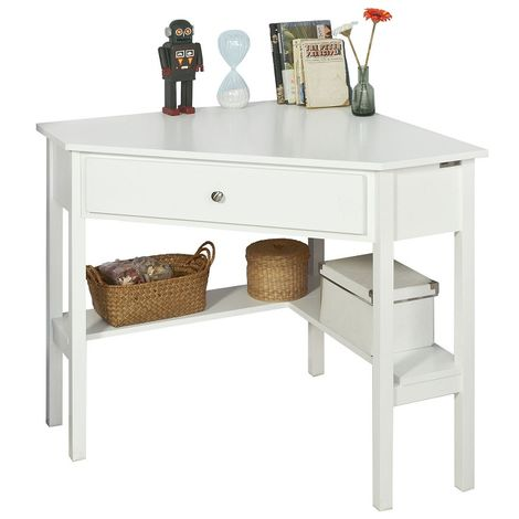 SoBuy White Wood Triangle Computer Corner Table with Drawer, FWT31-W