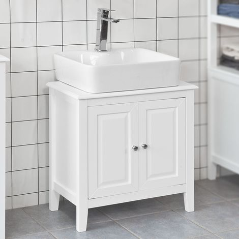 So White Wood Under Sink Basin Bathroom Storage Cabinet Unit Frg202 W