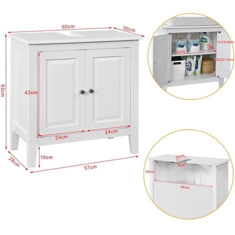 SoBuy White Wood Under Sink Basin Bathroom Storage Cabinet Unit, FRG202-W