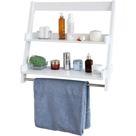 SoBuy White Wood Wall Mounted Storage Rack Bathroom Towel Rail FRG117-W