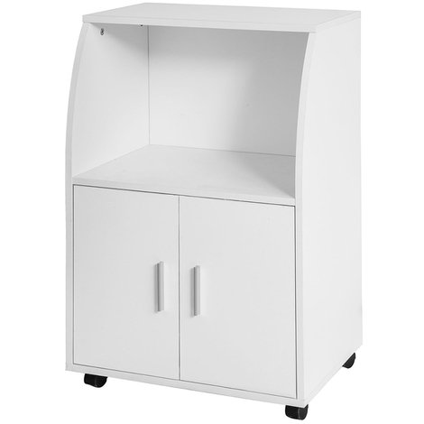 SoBuy White Wood Wheeled Kitchen Storage Cupboard Unit FRG241-W