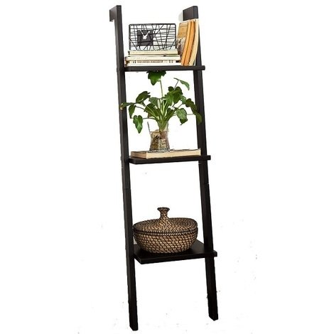 SoBuy Wood 3 Tiers Storage Display Wall Shelf,FRG32-SCH, Black