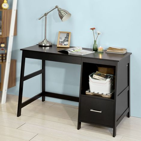 SoBuy® Wood Computer Table with Side Storage Rack and Drawers,Black,FWT38-SCH,UK