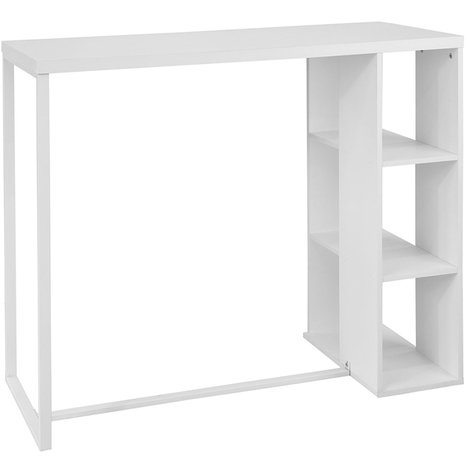 SoBuy Wood Kitchen Dining Table with Storage Rack,White,FWT39-W
