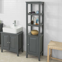 SoBuy Wood Standing Tall Boy Bathroom Storage Cabinet Unit Grey FRG205-DG
