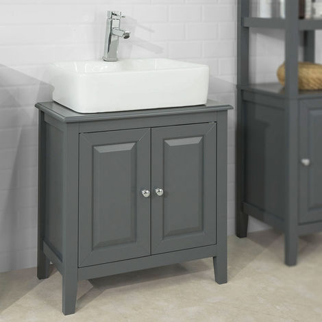 SoBuy Wood Under Sink Basin Bathroom Storage Cabinet Unit Grey FRG202-DG