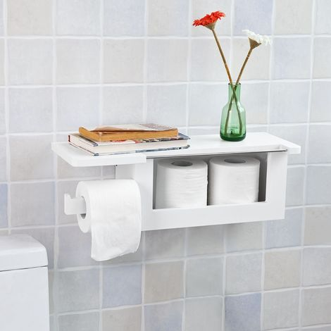 SoBuy Wood Wall Mounted Bathroom Toilet Paper Roll Holder,FRG175-W