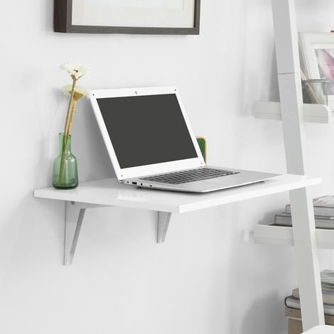SoBuy Wood Wall-mounted Folding Reading Desk White,FWT21-W