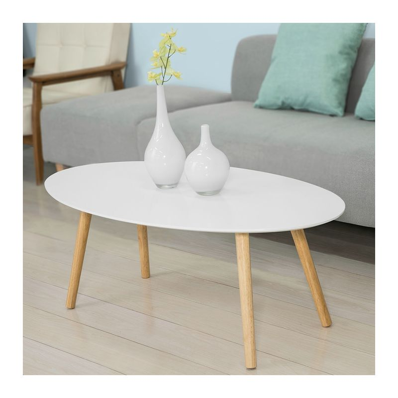 So Wood White Living Room Oval Coffee Table Fbt61 W