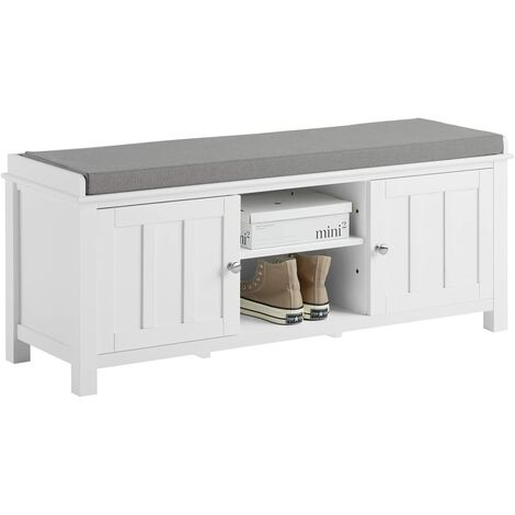 SoBuy Wooden Hallway Shoe Storage Bench, White, FSR35-W