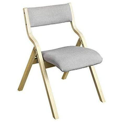 SoBuy Wooden Padded Folding Dining Chair, Light Grey,FST40-HG