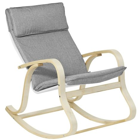 SoBuy Wooden Rocking Chair Reclining Relax Nursing Armchair, FST15-DG ,Grey
