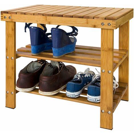 SoBuy® Zapatero, estantería para zapatos de bambú de alta calidad con 2 años de garantía, L50xP29xA45, FSR02-K-N.