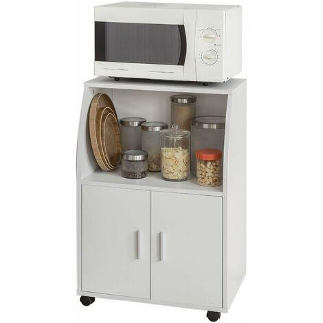 SoBuy®Aparador auxiliar bajo de cocina para microondas, con 2 puertas y 1 estante, L59 cm x P40 cm x H92 cm, FRG241-W