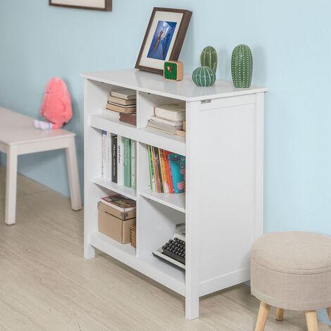 SoBuy®Aparador con 6 compartimientos, armario bajo ,Consola mesa madera,FSB15-W,ES (Blanco)