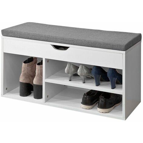 SoBuy®Banco zapatero,armario de Almacenamiento con cajón y 3 compartimientos,H46 cm, FSR45-HG,ES