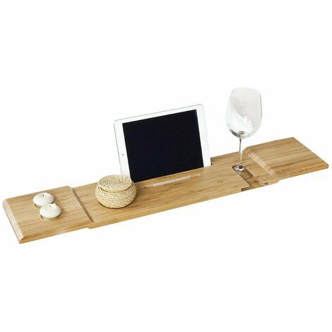 SoBuy®Bandeja de bambú para bañera,estante de baño, L80cm X P15.5cm, FRG104-L-N, ES