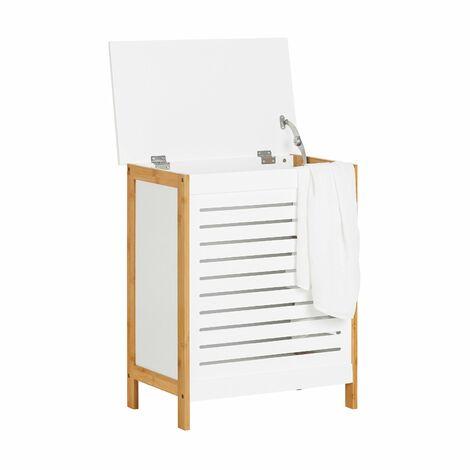 SoBuy®cesto para la colada, canasto para la ropa sucia, amario para baño, FSS66-WN