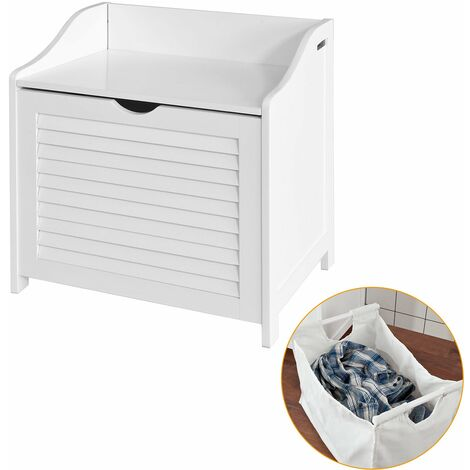 SoBuy®Cesto para la colada, canasto para la ropa sucia con un saco, blanco, FSR40-W