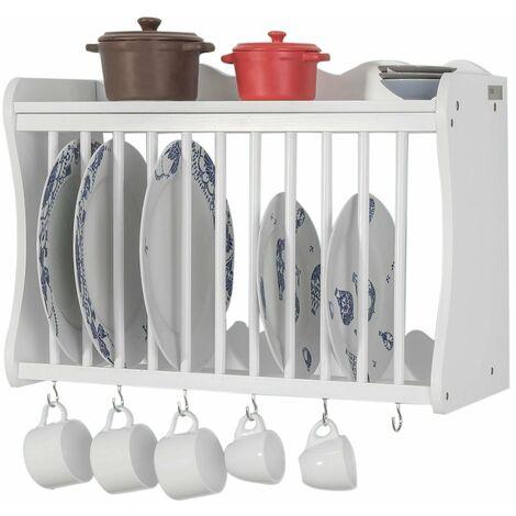 SoBuy®Escurreplatos Blanco,soporte para platos y tazas,estantería de cocina con 6 percheros,FRG275-W,ES