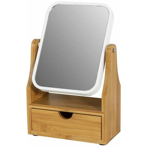 SoBuy®Espejo de Baño, Espejo de Maquillajepejo de mesa con un cajón, Rotación 360°, FRG245-N