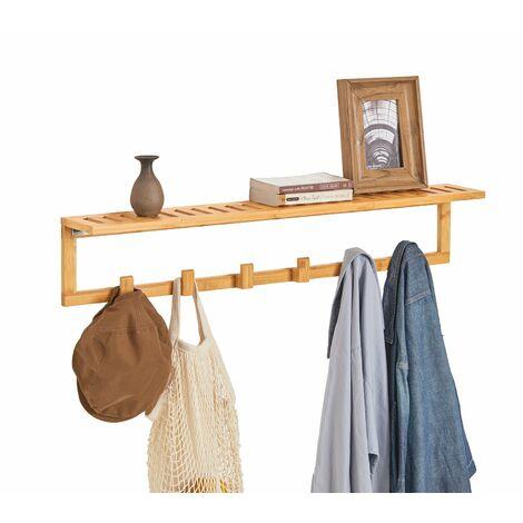 SoBuy®FHK06-N, Perchero de pared con ganchos bambútante de pared, con 6 ganchos y 1 estante, L 90cm