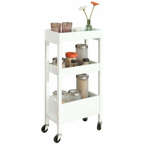 SoBuy®FKW49-W Carrito de cocina, carrito de servir- 3 estantes, 4 ruedas-Blanco