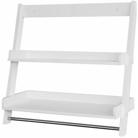 SoBuy®FRG117-W,Estantería de pared, Toalleros repisa, estantería de baño de MDF, blanco,ES