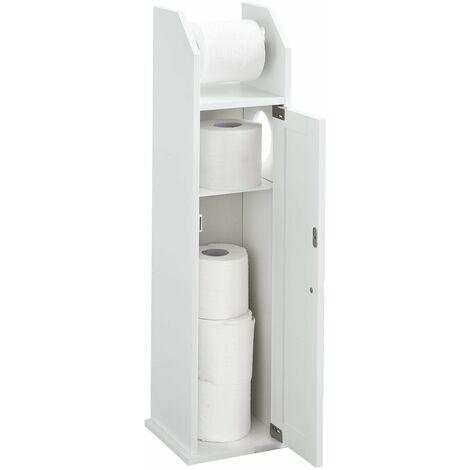 SoBuy®FRG135-W, ES Portarrollo para papel higiénico, Sostenedor de papel higiénico, Porta-escobillas para WC