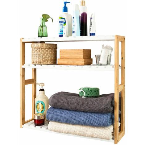 SoBuy®FRG28-WNtantería de pared, estantería de baño, librería, estantería de cocina de bambú, color: natural/blanco