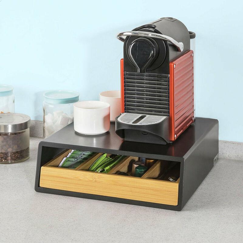 SoBuy FRG180-WN,ES Estante Cafetera con 2 cajones Soporte para C/ápsulas de Caf/é o Bolsas de t/é