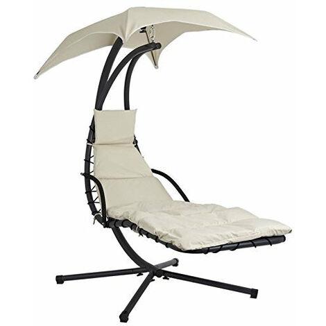 SoBuy®Mecedora regulable con cojines, balancín jardín, hamaca helicóptero para tomar el sol , Tumbona , OGS16