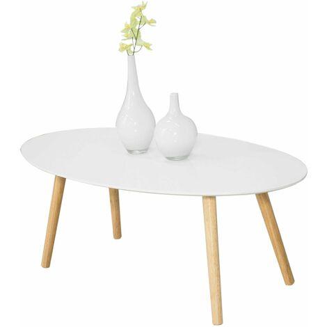 SoBuy®Mesa de centro para salón, Mesa de café, blanco, L105xH40 cm, FBT61-W, ES