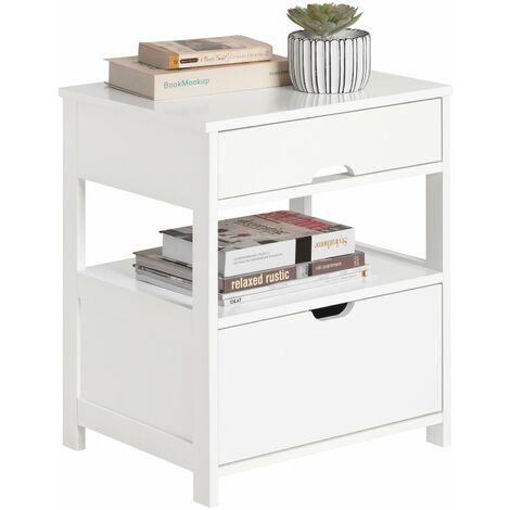 SoBuy®Mesita de noche dormitorio , Mesa auxiliar con 2 cajones, blanco, FRG258-W