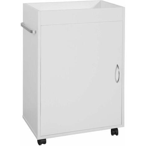 SoBuy®Mueble columna de baño, Armario para baño con ruedastanterías de baño-1 puerta y 1 bandeja, FKW55-W, ES