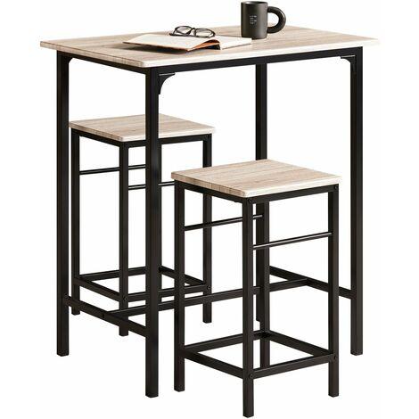 SoBuy®Set de 2 Taburetes y 1 mesa de afuera, , juego de 3 piezas comedor mesa, OGT10-N